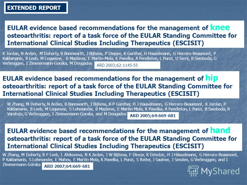 EXTENDED REPORT EULAR evidence based recommendations for the management of knee osteoarthritis: report of a task force of the EULAR Standing Committee for International Clinical Studies Including Therapeutics (ESCISIT) ARD 2003;62:1145-55 K Jordan, N
