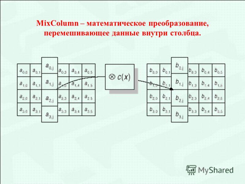 MixColumn – математическое преобразование, перемешивающее данные внутри столбца.
