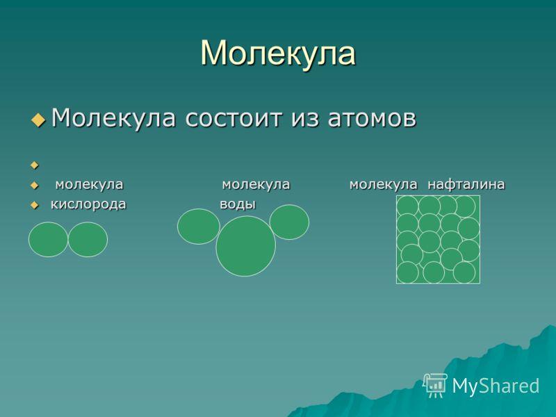 Молекула Молекула состоит из атомов Молекула состоит из атомов молекула молекула молекула нафталина молекула молекула молекула нафталина кислорода воды кислорода воды