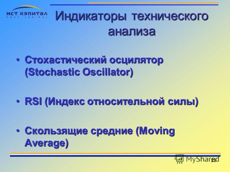 29 Индикаторы технического анализа Стохастический осцилятор (Stochastic Oscillator)Стохастический осцилятор (Stochastic Oscillator) RSI (Индекс относительной силы)RSI (Индекс относительной силы) Скользящие средние (Moving Average)Скользящие средние (