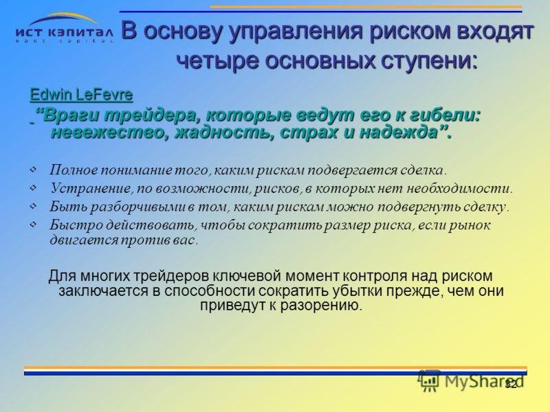 32 В основу управления риском входят четыре основных ступени: Edwin LeFevre Враги трейдера, которые ведут его к гибели: невежество, жадность, страх и надежда. Враги трейдера, которые ведут его к гибели: невежество, жадность, страх и надежда. Полное п