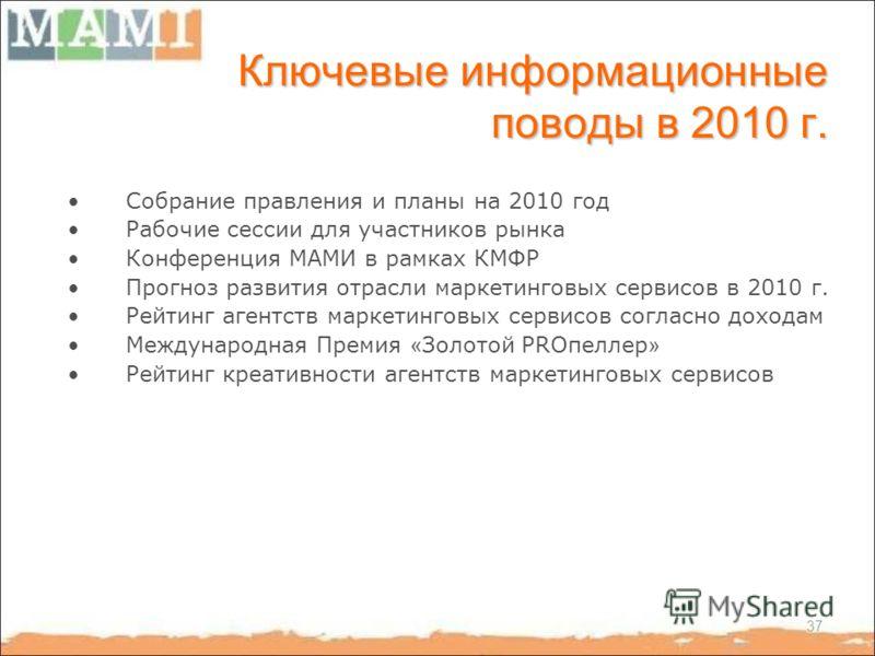 37 Ключевые информационные поводы в 2010 г. Собрание правления и планы на 2010 год Рабочие сессии для участников рынка Конференция МАМИ в рамках КМФР Прогноз развития отрасли маркетинговых сервисов в 2010 г. Рейтинг агентств маркетинговых сервисов со