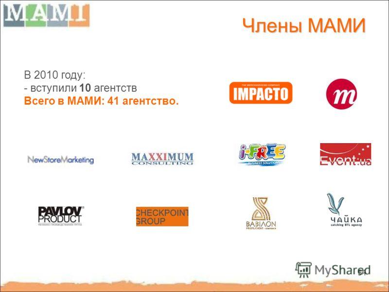 54 Члены МАМИ В 2010 году: - вступили 10 агентств Всего в МАМИ: 41 агентство.