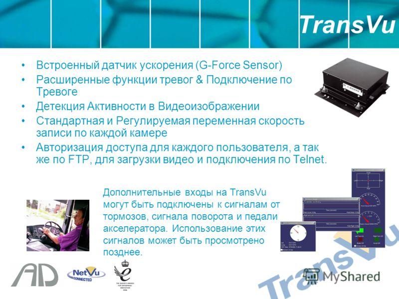 Встроенный датчик ускорения (G-Force Sensor) Расширенные функции тревог & Подключение по Тревоге Детекция Активности в Видеоизображении Стандартная и Регулируемая переменная скорость записи по каждой камере Авторизация доступа для каждого пользовател