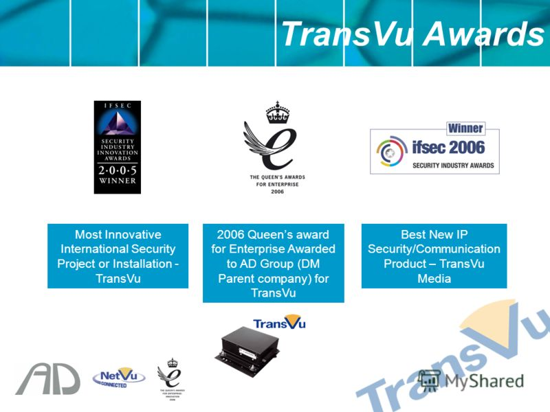 TransVu Awards 2006 Queens award for Enterprise Awarded to AD Group (DM Parent company) for TransVu Best New IP Security/Communication Product – TransVu Media Most Innovative International Security Project or Installation - TransVu