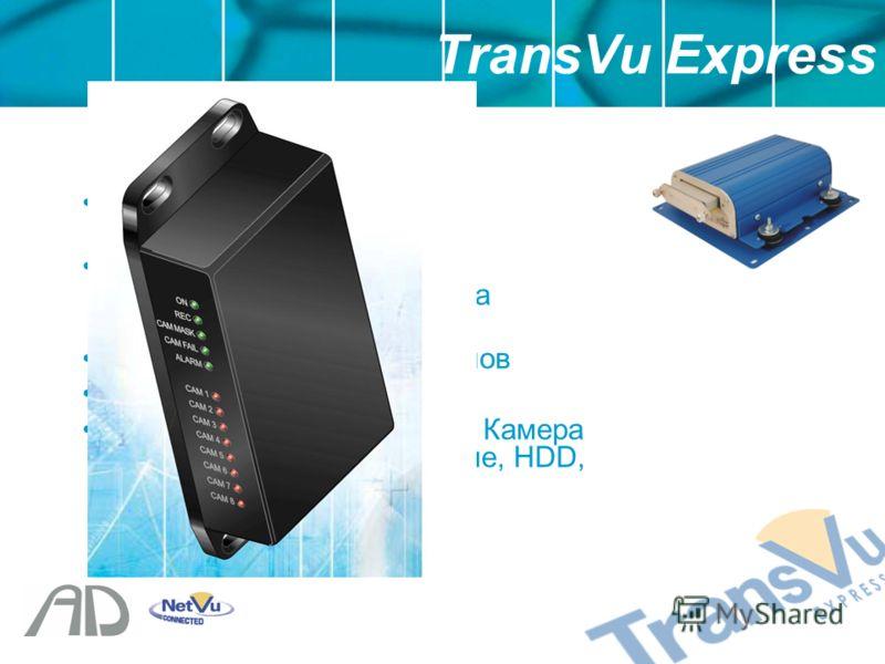 Компактный размер – 180ммx110ммx60мм RS232 Порт – Сервис или Информационное табло на светодиодах 3 входа тревожных сигналов Выход реле Информация LED табло – Камера Неисправна, Сеть, Питание, HDD, CF/SD и Запись