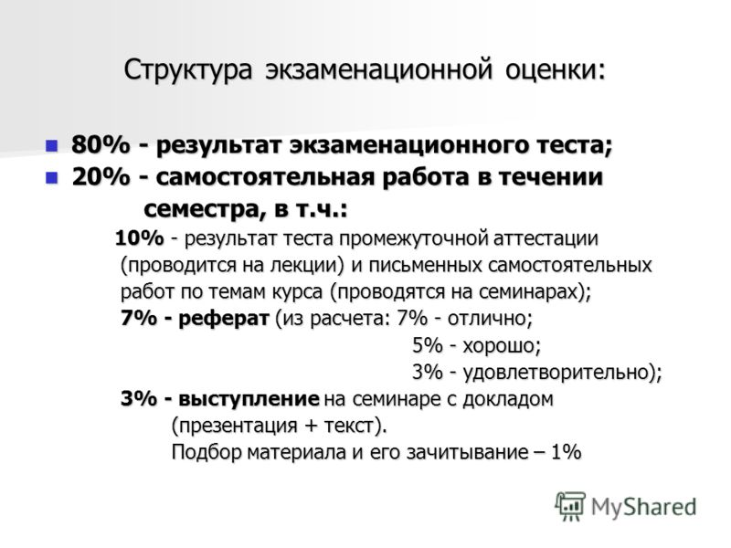 Структура экзаменационной оценки: 80% - результат экзаменационного теста; 80% - результат экзаменационного теста; 20% - самостоятельная работа в течении 20% - самостоятельная работа в течении семестра, в т.ч.: семестра, в т.ч.: 10% - результат теста