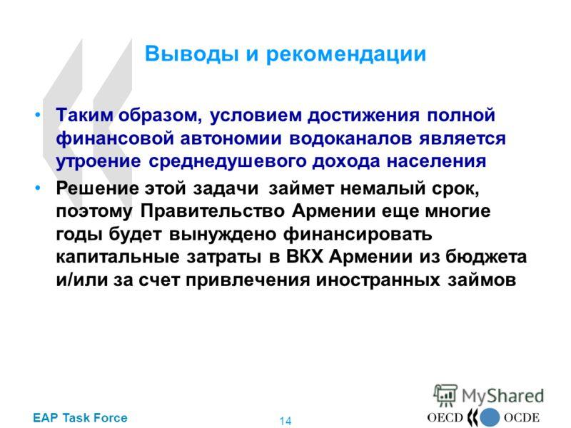 EAP Task Force 14 Выводы и рекомендации Таким образом, условием достижения полной финансовой автономии водоканалов является утроение среднедушевого дохода населения Решение этой задачи займет немалый срок, поэтому Правительство Армении еще многие год