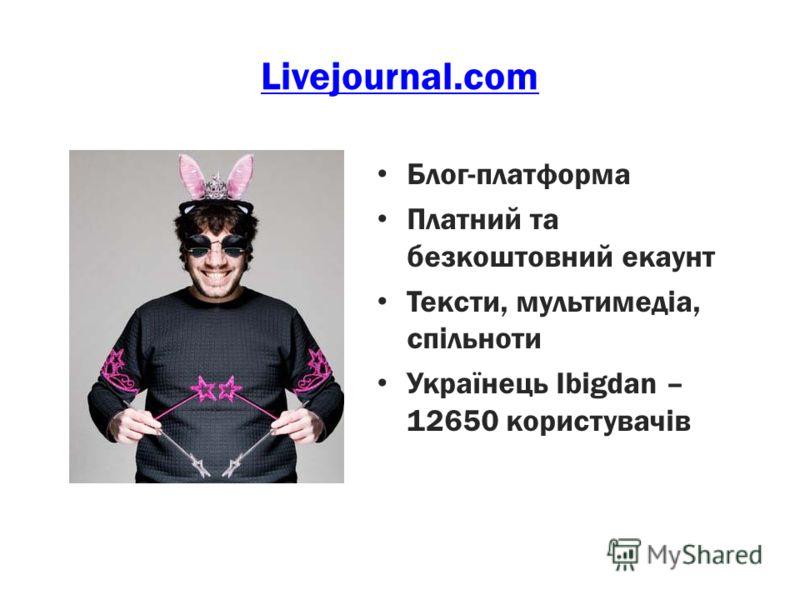 Livejournal.com Блог-платформа Платний та безкоштовний екаунт Тексти, мультимедіа, спільноти Українець Ibigdan – 12650 користувачів