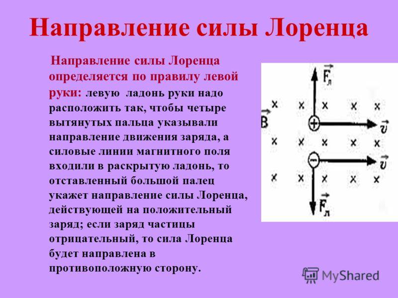 Направление силы Лоренца Направление силы Лоренца определяется по правилу левой руки: левую ладонь руки надо расположить так, чтобы четыре вытянутых пальца указывали направление движения заряда, а силовые линии магнитного поля входили в раскрытую лад