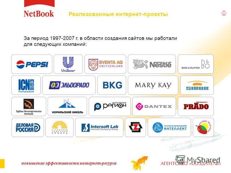 За период 1997-2007 г. в области создания сайтов мы работали для следующих компаний: повышение эффективности интернет-ресурса Реализованные интернет-проекты