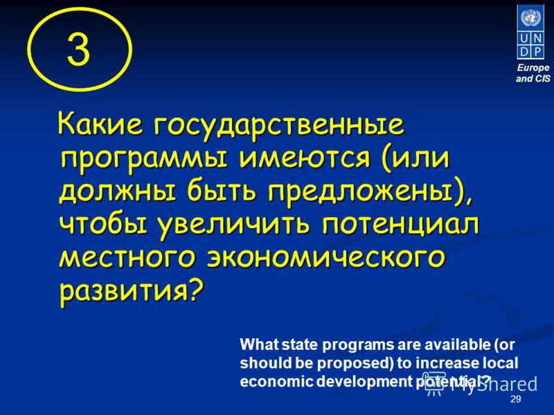 29 Какие государственные программы имеются (или должны быть предложены), чтобы увеличить потенциал местного экономического развития? Какие государственные программы имеются (или должны быть предложены), чтобы увеличить потенциал местного экономическо