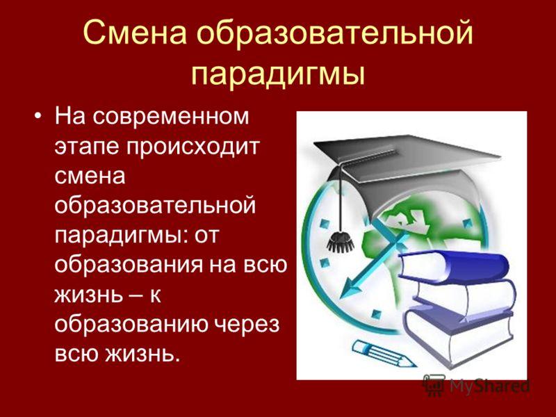 Смена образовательной парадигмы На современном этапе происходит смена образовательной парадигмы: от образования на всю жизнь – к образованию через всю жизнь.