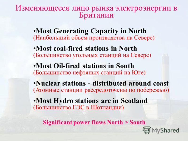 Most Generating Capacity in North (Наибольший объем производства на Севере) Most coal-fired stations in North (Большинство угольных станций на Севере) Most Oil-fired stations in South (Большинство нефтяных станций на Юге) Nuclear stations - distribut