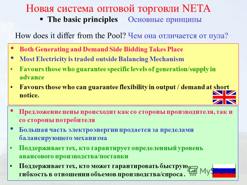 The basic principles Основные принципы Новая система оптовой торговли NЕТА How does it differ from the Pool? Чем она отличается от пула? Both Generating and Demand Side Bidding Takes Place Most Electricity is traded outside Balancing Mechanism Favour