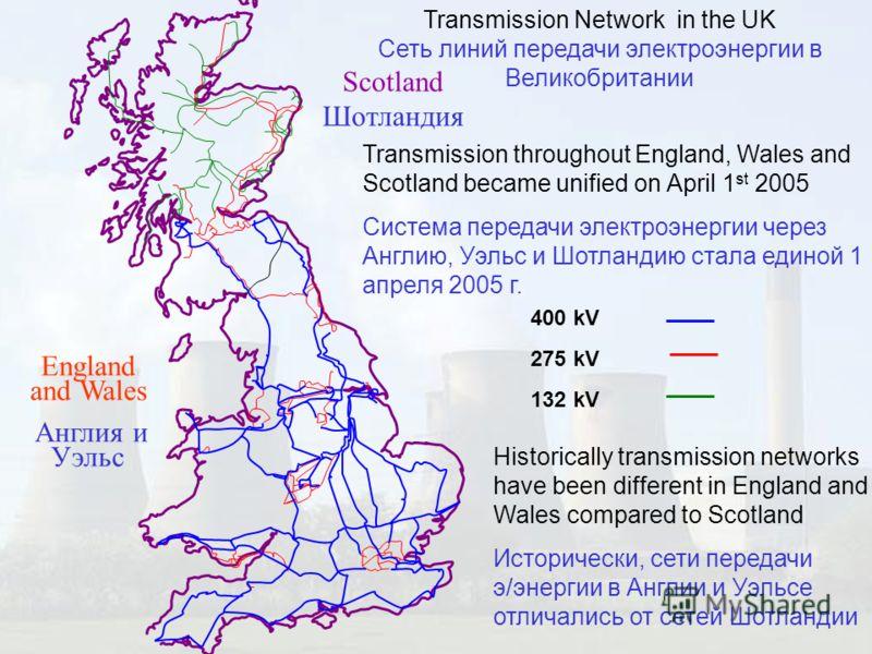 Transmission Network in the UK Сеть линий передачи электроэнергии в Великобритании Transmission throughout England, Wales and Scotland became unified on April 1 st 2005 Система передачи электроэнергии через Англию, Уэльс и Шотландию стала единой 1 ап