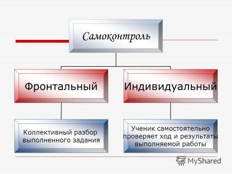 Самоконтроль Фронтальный Коллективный разбор выполненного задания Индивидуальный Ученик самостоятельно проверяет ход и результаты выполняемой работы