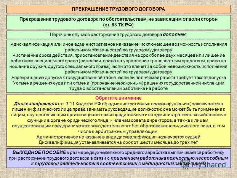 ПРЕКРАЩЕНИЕ ТРУДОВОГО ДОГОВОРА Прекращение трудового договора по обстоятельствам, не зависящим от воли сторон (ст. 83 ТК РФ) Перечень случаев расторжения трудового договора дополнен: дисквалификация или иное административное наказание, исключающее во