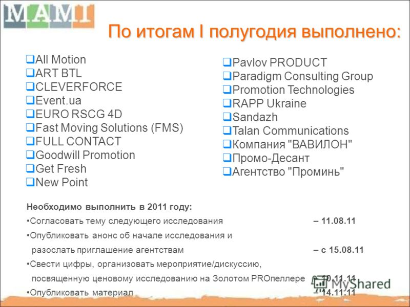 По итогам I полугодия выполнено: All Motion ART BTL CLEVERFORCE Event.ua EURO RSCG 4D Fast Moving Solutions (FMS) FULL CONTACT Goodwill Promotion Get Fresh New Point Pavlov PRODUCT Paradigm Consulting Group Promotion Technologies RAPP Ukraine Sandazh