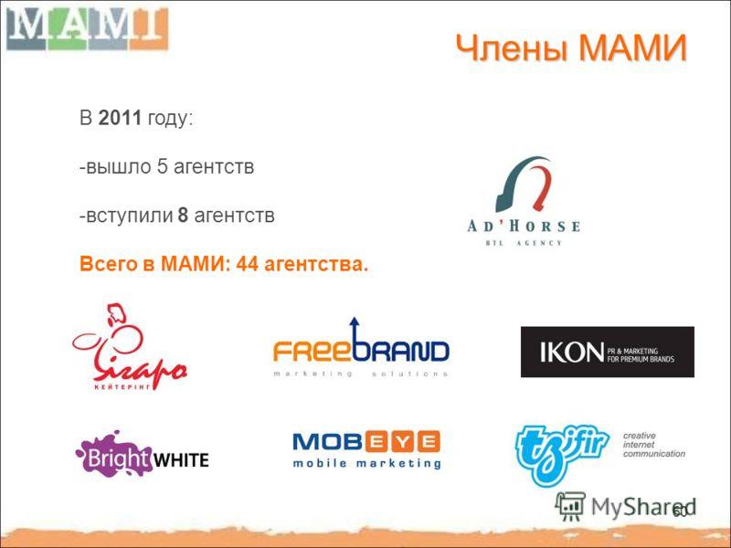 60 Члены МАМИ В 2011 году: -вышло 5 агентств -вступили 8 агентств Всего в МАМИ: 44 агентства.