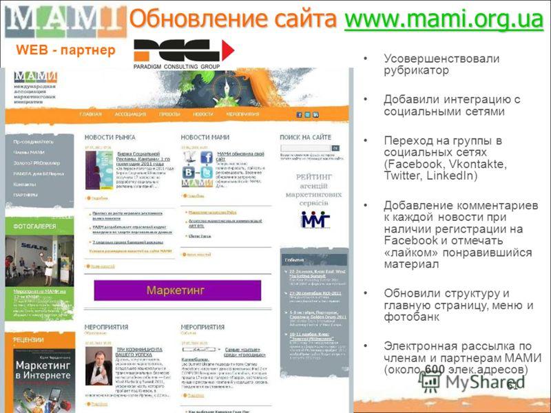 61 Обновление сайта www.mami.org.ua www.mami.org.ua WEB - партнер Усовершенствовали рубрикатор Добавили интеграцию с социальными сетями Переход на группы в социальных сетях (Facebook, Vkontakte, Twitter, LinkedIn) Добавление комментариев к каждой нов