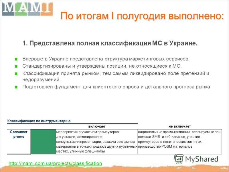 По итогам I полугодия выполнено: 1. Представлена полная классификация МС в Украине. Впервые в Украине представлена структура маркетинговых сервисов. Стандартизированы и утверждены позиции, не относящиеся к МС. Классификация принята рынком, тем самым