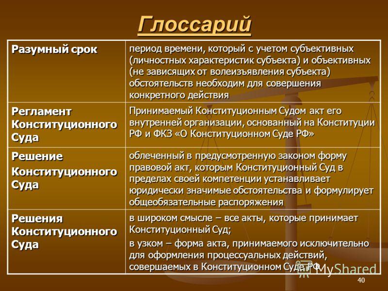 40 Глоссарий Разумный срок период времени, который с учетом субъективных (личностных характеристик субъекта) и объективных (не зависящих от волеизъявления субъекта) обстоятельств необходим для совершения конкретного действия Регламент Конституционног