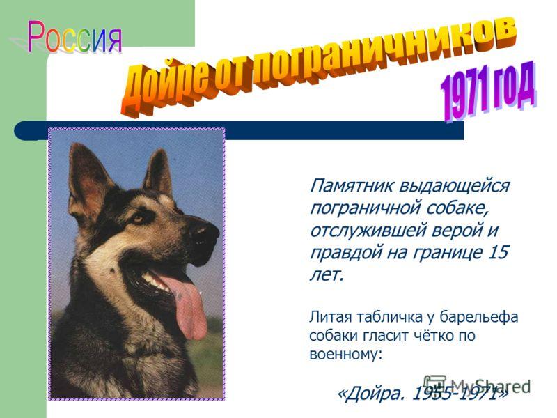 Памятник выдающейся пограничной собаке, отслужившей верой и правдой на границе 15 лет. Литая табличка у барельефа собаки гласит чётко по военному: «Дойра. 1955-1971»