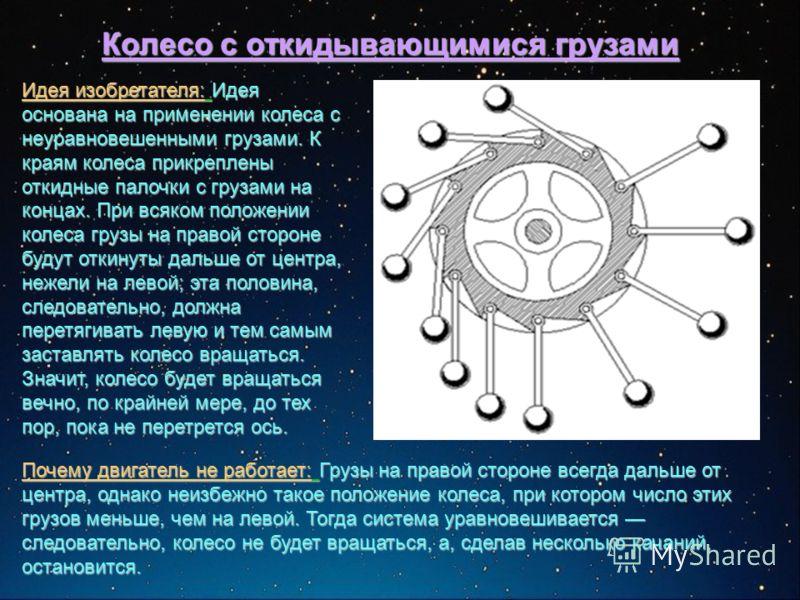 Колесо с откидывающимися грузами Идея изобретателя: Идея основана на применении колеса с неуравновешенными грузами. К краям колеса прикреплены откидные палочки с грузами на концах. При всяком положении колеса грузы на правой стороне будут откинуты да