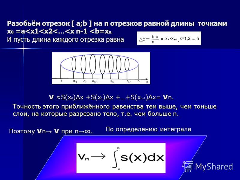Разобьём отрезок [ а;b ] на n отрезков равной длины точками x 0 =а