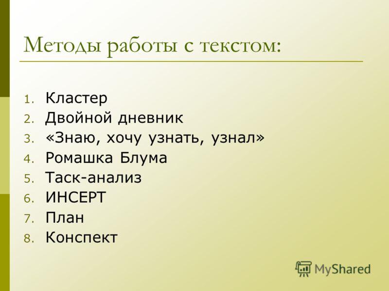 Методы работы с текстом: 1. Кластер 2. Двойной дневник 3. «Знаю, хочу узнать, узнал» 4. Ромашка Блума 5. Таск-анализ 6. ИНСЕРТ 7. План 8. Конспект