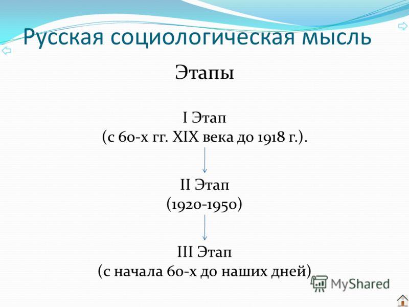 Русская социологическая мысль Этапы I Этап (с 60-х гг. XIX века до 1918 г.). II Этап (1920-1950) III Этап (с начала 60-х до наших дней)