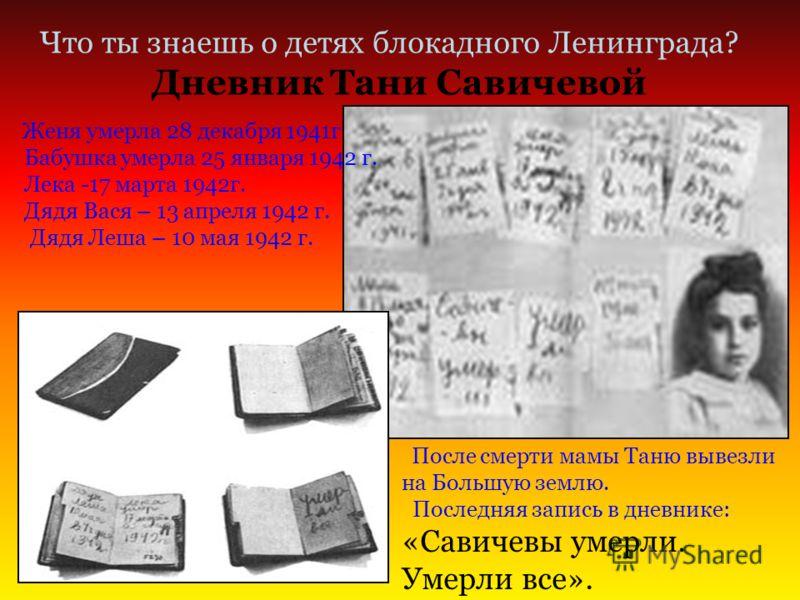Дневник Тани Савичевой Что ты знаешь о детях блокадного Ленинграда? Женя умерла 28 декабря 1941г Бабушка умерла 25 января 1942 г. Лека -17 марта 1942г. Дядя Вася – 13 апреля 1942 г. Дядя Леша – 10 мая 1942 г. После смерти мамы Таню вывезли на Большую