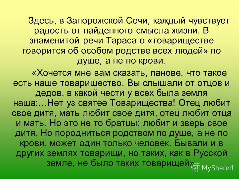 Здесь, в Запорожской Сечи, каждый чувствует радость от найденного смысла жизни. В знаменитой речи Тараса о «товариществе говорится об особом родстве всех людей» по душе, а не по крови. «Хочется мне вам сказать, панове, что такое есть наше товариществ
