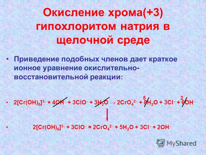 Окисление хрома(+3) гипохлоритом натрия в щелочной среде Приведение подобных членов дает краткое ионное уравнение окислительно- восстановительной реакции : 2[Cr(OH) 6 ] 3 + 4ОН + 3ClO + 3Н 2 О 2CrO 4 2 + 8Н 2 О + 3Cl + 6ОН 2[Cr(OH) 6 ] 3 + 3ClO = 2Cr