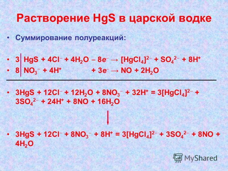Растворение HgS в царской водке Суммирование полуреакций: 3 HgS + 4Cl + 4H 2 O 8e [HgCl 4 ] 2 + SO 4 2 + 8H + 8 NO 3 + 4H + + 3e NO + 2H 2 O 3HgS + 12Cl + 12H 2 O + 8NO 3 + 32H + = 3[HgCl 4 ] 2 + 3SO 4 2 + 24H + + 8NO + 16H 2 O 3HgS + 12Cl + 8NO 3 +