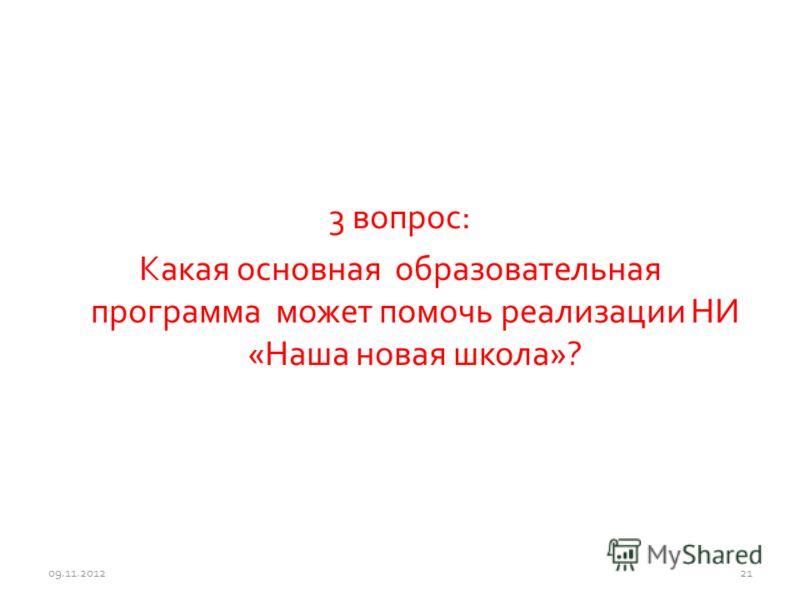 3 вопрос: Какая основная образовательная программа может помочь реализации НИ «Наша новая школа»? 09.11.201221