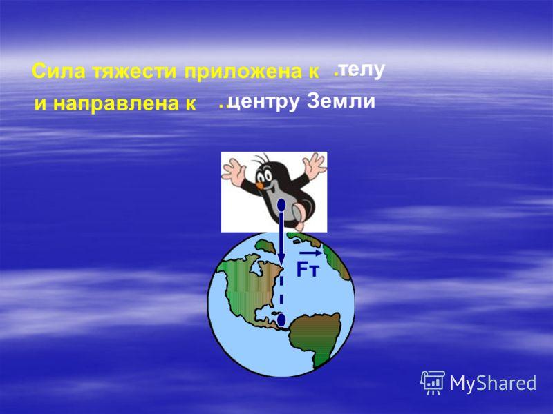 Сила тяжести приложена к …телу и направлена к …центру Земли FтFт
