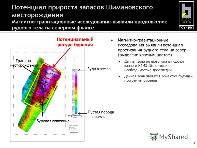TSX: BKI 9 Потенциал прироста запасов Шимановского месторождения Магнитно-гравитационные исследования выявили продолжение рудного тела на северном фланге Магнитно-гравитационные исследования выявили потенциал простирания рудного тела на север (выделе