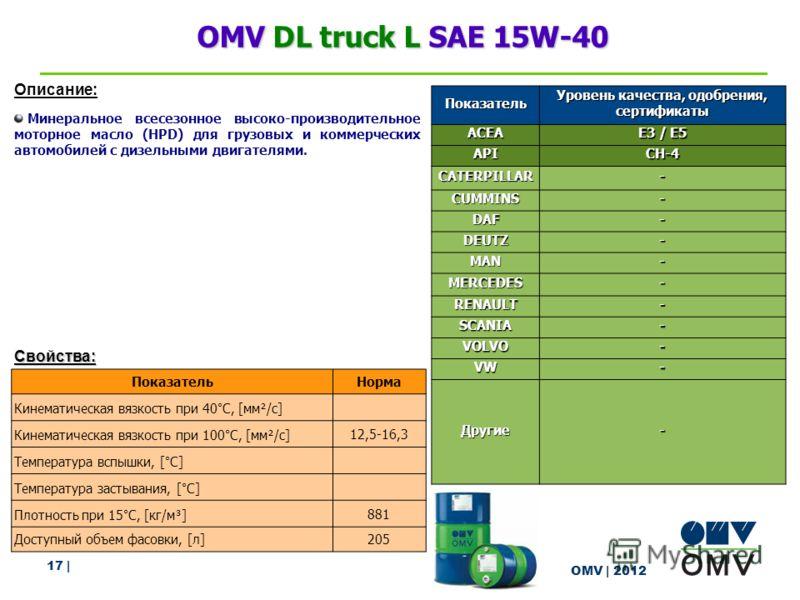 17 | OMV | 2012 OMV DL truck L SAE 15W-40 Описание: Минеральное всесезонное высоко-производительное моторное масло (HPD) для грузовых и коммерческих автомобилей с дизельными двигателями. Свойства: ПоказательНорма Кинематическая вязкость при 40°C, [мм