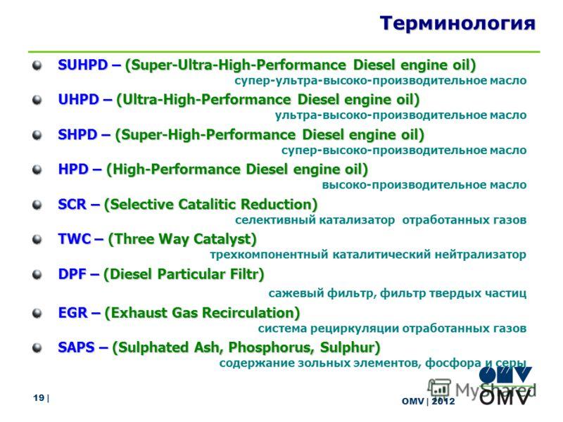 19 | OMV | 2012 Терминология SUHPD – (Super-Ultra-High-Performance Diesel engine oil) супер-ультра-высоко-производительное масло UHPD – (Ultra-High-Performance Diesel engine oil) ультра-высоко-производительное масло SHPD – (Super-High-Performance Die