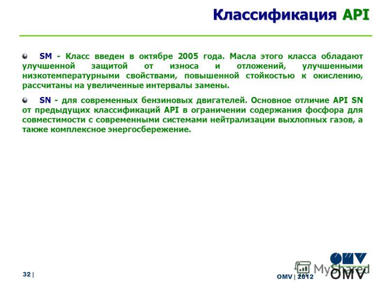32 | OMV | 2012 Классификация API SM - Класс введен в октябре 2005 года. Масла этого класса обладают улучшенной защитой от износа и отложений, улучшенными низкотемпературными свойствами, повышенной стойкостью к окислению, рассчитаны на увеличенные ин