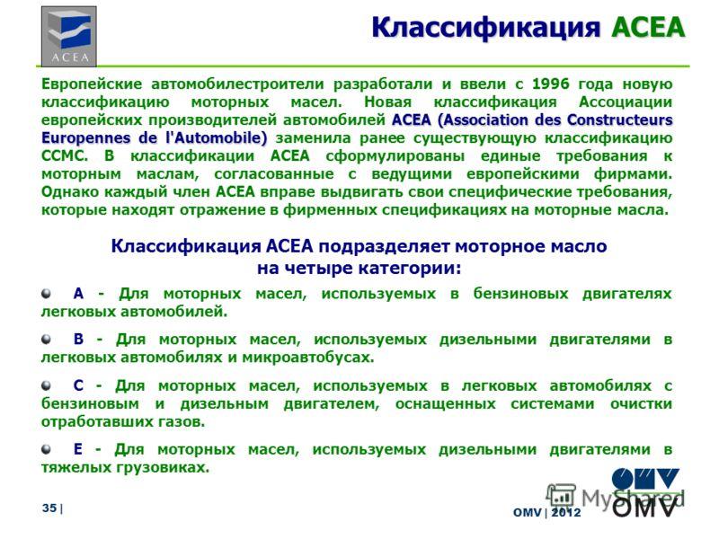 35 | OMV | 2012 Классификация ACEA АСЕА (Association des Constructeurs Europennes de l'Automobile) Европейские автомобилестроители разработали и ввели с 1996 года новую классификацию моторных масел. Новая классификация Ассоциации европейских производ