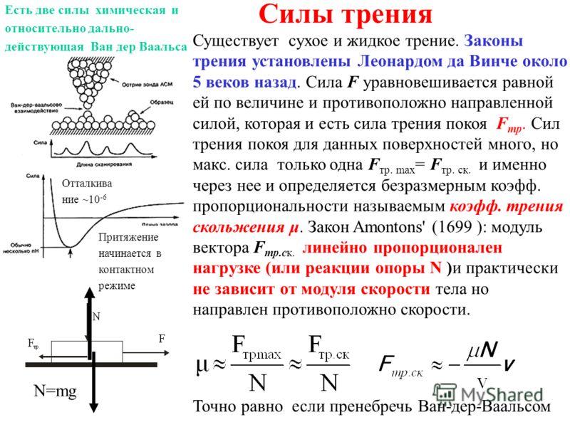 Силы трения Существует сухое и жидкое трение. Законы трения установлены Леонардом да Винче около 5 веков назад. Сила F уравновешивается равной ей по величине и противоположно направленной силой, которая и есть сила трения покоя F тр. Сил трения покоя