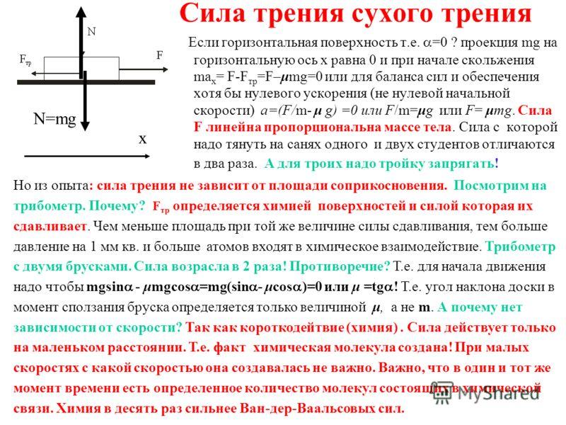 Сила трения сухого трения Если горизонтальная поверхность т.е. =0 ? проекция mg на горизонтальную ось x равна 0 и при начале скольжения ma x = F-F тр =F–μmg=0 или для баланса сил и обеспечения хотя бы нулевого ускорения (не нулевой начальной скорости