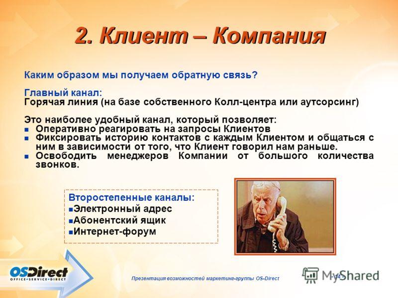 - 14 - Презентация возможностей маркетинг-группы OS-Direct 2. Клиент – Компания Каким образом мы получаем обратную связь? Главный канал: Горячая линия (на базе собственного Колл-центра или аутсорсинг) Это наиболее удобный канал, который позволяет: Оп