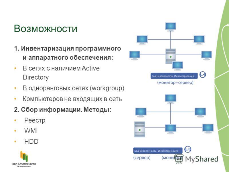 Возможности 1. Инвентаризация программного и аппаратного обеспечения: В сетях с наличием Active Directory В одноранговых сетях (workgroup) Компьютеров не входящих в сеть 2. Сбор информации. Методы: Реестр WMI HDD