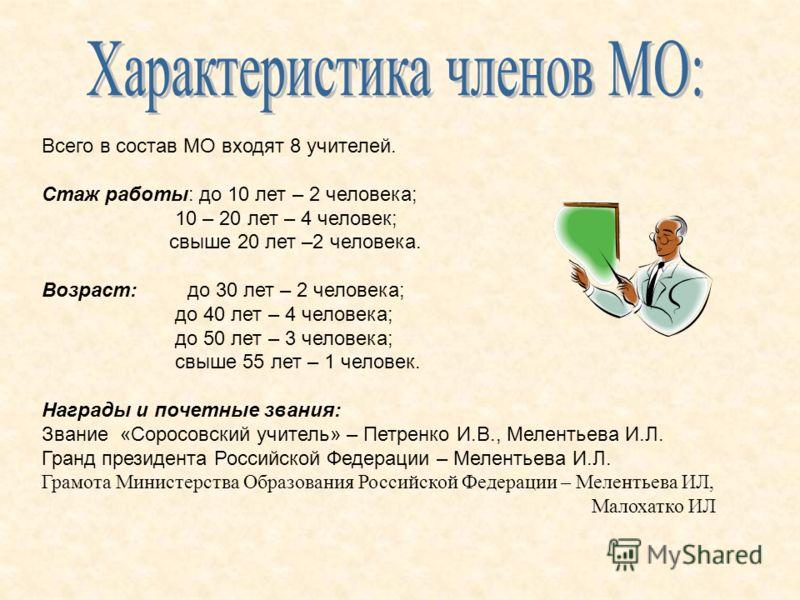 Всего в состав МО входят 8 учителей. Стаж работы: до 10 лет – 2 человека; 10 – 20 лет – 4 человек; свыше 20 лет –2 человека. Возраст: до 30 лет – 2 человека; до 40 лет – 4 человека; до 50 лет – 3 человека; свыше 55 лет – 1 человек. Награды и почетные