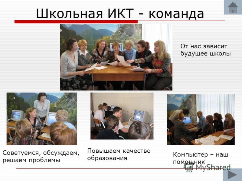 Школьная ИКТ - команда От нас зависит будущее школы Советуемся, обсуждаем, решаем проблемы Компьютер – наш помощник Повышаем качество образования