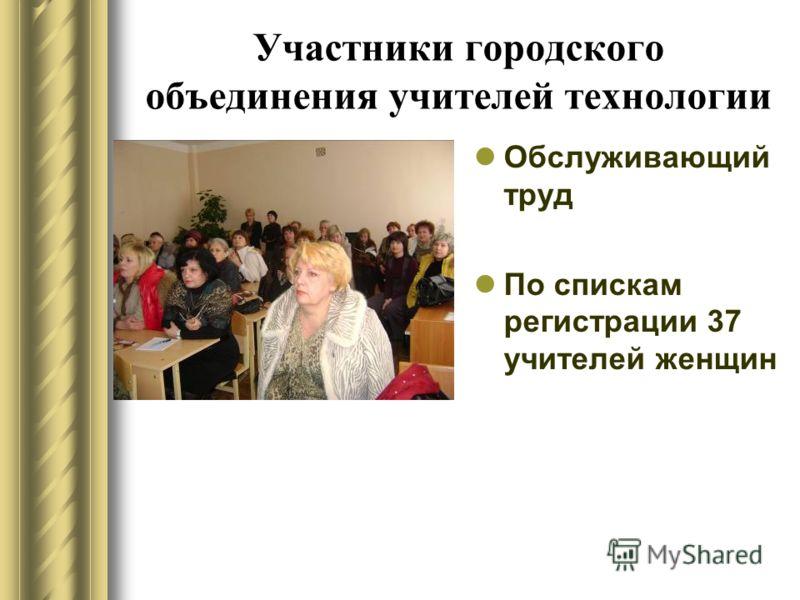 Участники городского объединения учителей технологии Обслуживающий труд По спискам регистрации 37 учителей женщин